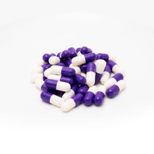purple and white pills